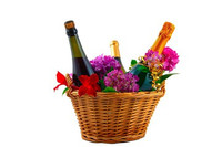 Bottle Sparking, Bottle Red, Bottle White Wine Hamper With Flowers