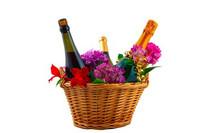Bottle Sparking, Bottle Red, Bottle White Wine Hamper With Flowers