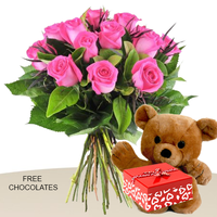 12 Pink Roses In A Bunch With Teddy And Free Chocolates