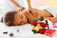 1 Hour Massage Voucher, 12 Mixed Rose Bunch And Free Chocolates