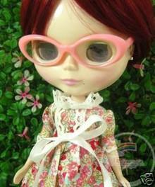 "Releaserain Doll Glasses Pink Frame Clear Lens Eyeglasses #A3 For 12"" Blythe Dolls"