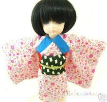 Dollfie Yo-SD Outfit Pink Flowers Yukata Kimono Dress