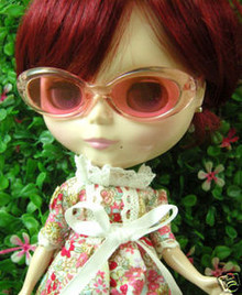 "Releaserain Doll Glasses Clear Pink Frame Pink Lens Sunglasses #A5 For 12"" Blythe Dolls"