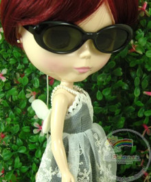 """Releaserain Doll Glasses Black Frame Black Lens Sunglasses #A8 for 12"""" Blythe Dolls"""