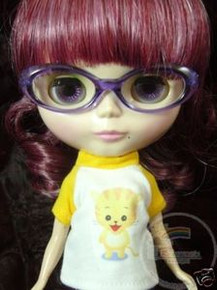 "Releaserain Doll Glasses Clear Purple Frame Clear Lens Eyeglasses #A7 For 12"" Blythe Dolls"