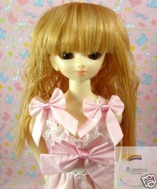 Peach Gold Wave 7-8 Wig #4133 for MSD BJD Dollfie Ellowyne Wilde Dolls