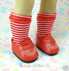 American Girl Doll Shoes Leather Red Loafers #W18