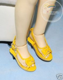 Dollfie SD Girl Shoes Clear/Patent Bow Sandals Yellow
