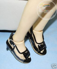 Dollfie SD Girl Shoes Clear/Patent Bow Sandals Black
