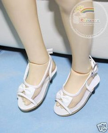 Dollfie SD Girl Shoes Clear/Patent Bow Sandals White