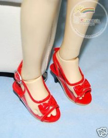 Dollfie SD Girl Shoes Clear/Patent Bow Sandals Red