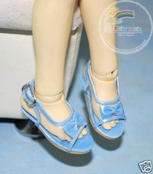 Doll Shoes Clear/Patent Pale Blue Bow Sandals For 1/4 MSD BJD Dollfie Dolls