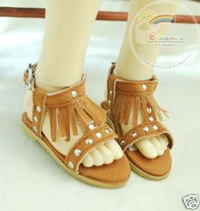 Dollfie MSD Shoes Suede Fringe T-Strap Sandals Brown