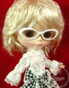 """Releaserain Doll Glasses White Frame Clear Lens Eyeglasses #A9 For 12"""" Blythe Dolls"""