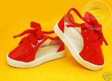 Doll Shoes Clear/Patent Red Lace-Up Sneakers For 1/4 MSD BJD Dollfie Dolls