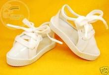 Doll Shoes Clear/Patent White Lace-Up Sneakers For 1/4 MSD BJD Dollfie Dolls
