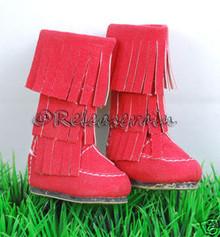 Dollfie DOB Shoes Suede Fringe Moccasin Boots Red