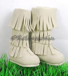 Dollfie DOB Shoes Suede Fringe Moccasin Boots Khaki