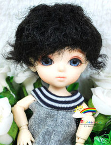 "Black Short 5.5"" Doll Wig  for Lati Yellow Pukifee BJD Dollfie 16"" Tonner Tyler #8002-1B"