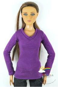 """16"""" Tonner Tyler/Gene Long Sleeves V-Neck Tee Shirt Purple"""