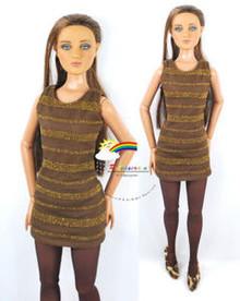"16"" Tonner Tyler/Gene Outfit Gold Stripes Dress Brown"
