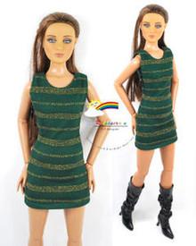 """16"""" Tonner Tyler/Gene Outfit Gold Stripes Dress D.Green"""