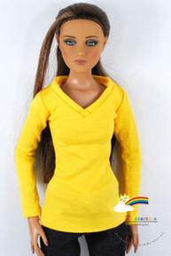 """16"""" Tonner Tyler/Gene Long Sleeves V-Neck Tee Shirt Yellow"""