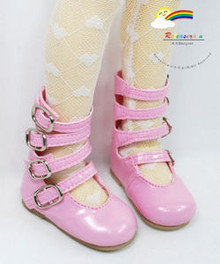 MSD Dollfie 4-Strap Mary Jane Shoes Boots Patent Pink