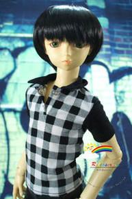 Dollfie SD Black Short 8-9 Heat Resistant Wig #D3177