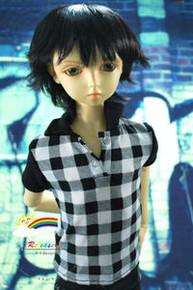 Dollfie SD Black Short 8-9 Heat Resistant Wig #D3252