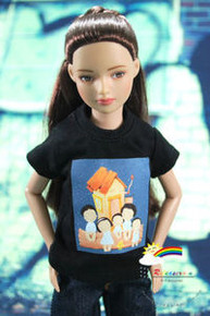 "12"" Tonner Marley Doll Outfit Black T-Shirt Family"