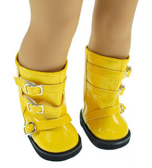 """Releaserain Doll Shoes Buckles Rain Boots Patent Yellow For 18"""" American Girl Dolls"""