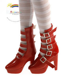 "16"" Tonner Tyler/Ellowyne Shoes 5-Strap Boots Pt Red"