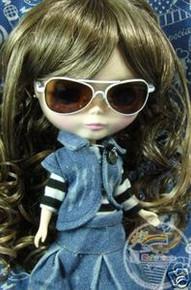 "Releaserain Doll Glasses Copper Sunglasses White Frame Brown Lens #C3 For 12"" Blythe and 16"" Terri Lee Dolls"