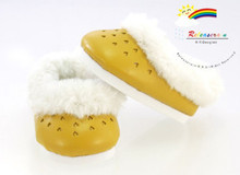 American Girl Shoes Leather Heart Fur Clogs Mustard