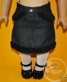 American Girl Doll Outfit Fur Trim Denim Skirt Black