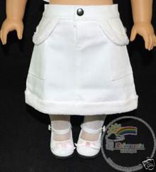 American Girl Doll Outfit Fur Trim Denim Skirt White