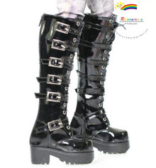 Buckles Lace-Up Boots Shoes Patent Black for SD13 Boy Rainy Girl BJD Dollfie Dolls