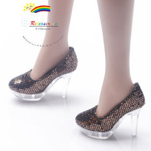 """Clear Pumps Shoes Brown for 22"""" Tonner American Model"""