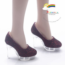 """Clear Pumps Shoes Ruby/Bk for 22"""" Tonner American Model"""
