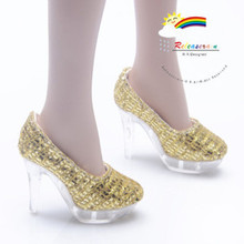 """Clear Pumps Shoes Gold for 22"""" Tonner American Model"""
