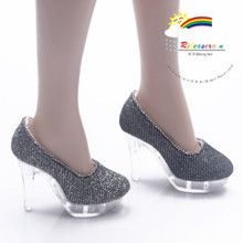 """Clear Pumps Shoes Silv/Bk for 22"""" Tonner American Model"""