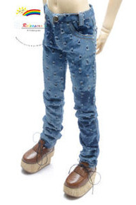 Dollfie SD13 Boy Holes Blue Washed Slim Straight Jeans