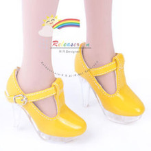 """Clear Stiletto T-Strap Shoes Patent Yellow for 22"""" Tonner American Model doll"""
