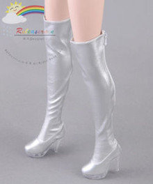 """Clear Heel Shoes Stretch Thigh Boots Silver for 22"""" Tonner American Model Doll"""