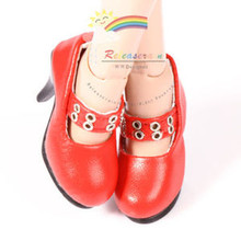 """Metal Holes Strap Mary Jane Heel Shoes Red for 17"""" Tonner DeeAnna Denton dolls"""