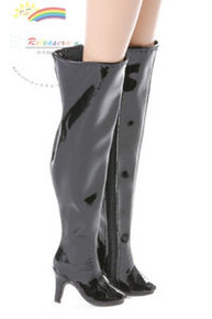 "Over Knee Thigh Heel Wide Boots Shoes Pt. Black for 16"" Tonner Tyler/Gene dolls"