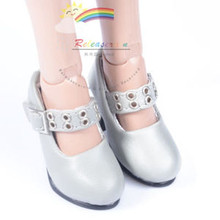 "Metal Holes Strap Mary Jane Heel Shoes Grey for 17"" Tonner DeeAnna Denton dolls"