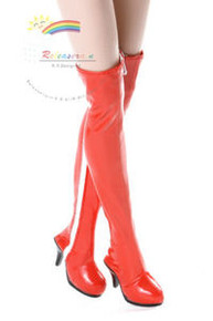 """Over Knee Thigh Heel Boots Shoes Patent Red for 17"""" Tonner DeeAnna Denton doll"""