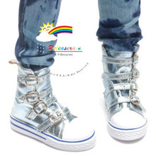 Buckles Ankle Faux Leather Sneakers Boots Shoes Metallic Water for SD13 Boy Rainy Girl BJD Dollfie Dolls
